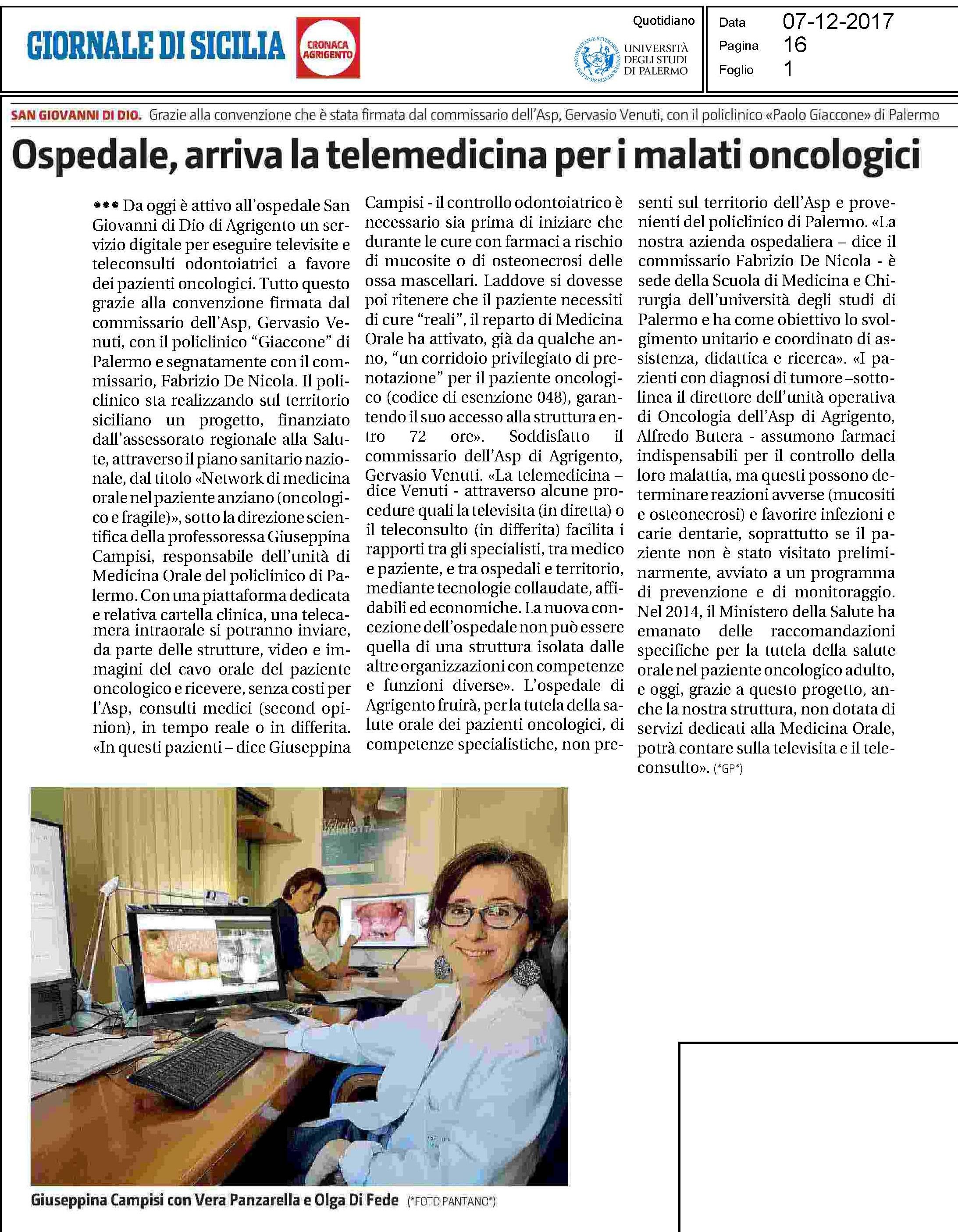 Articolo telemedicina odontostomatologica ad  Agrigento 7 dicembre 2017 GdS-1